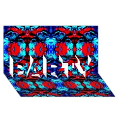 Red Black Blue Art Pattern Abstract Party 3d Greeting Card (8x4)  by Costasonlineshop