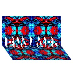 Red Black Blue Art Pattern Abstract Engaged 3d Greeting Card (8x4)  by Costasonlineshop
