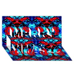 Red Black Blue Art Pattern Abstract Merry Xmas 3d Greeting Card (8x4)  by Costasonlineshop