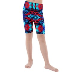 Red Black Blue Art Pattern Abstract Kid s Mid Length Swim Shorts by Costasonlineshop
