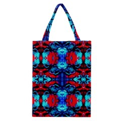 Red Black Blue Art Pattern Abstract Classic Tote Bags by Costasonlineshop