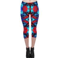 Red Black Blue Art Pattern Abstract Capri Leggings
