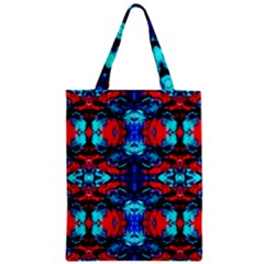 Red Black Blue Art Pattern Abstract Zipper Classic Tote Bags by Costasonlineshop