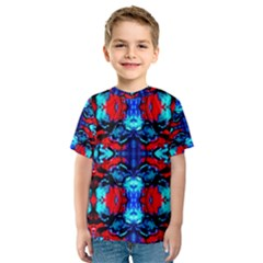 Red Black Blue Art Pattern Abstract Kid s Sport Mesh Tee by Costasonlineshop