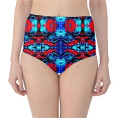 Red Black Blue Art Pattern Abstract High Waist Bikini Bottoms by Costasonlineshop