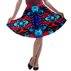 Red Black Blue Art Pattern Abstract A Line Skater Skirt by Costasonlineshop