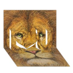 Regal Lion Drawing I Love You 3d Greeting Card (7x5)  by KentChua