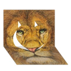Regal Lion Drawing Heart 3d Greeting Card (7x5)  by KentChua