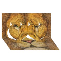 Regal Lion Drawing Twin Hearts 3d Greeting Card (8x4)  by KentChua