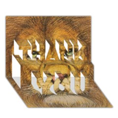 Regal Lion Drawing Thank You 3d Greeting Card (7x5)  by KentChua