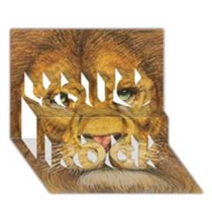 Regal Lion Drawing You Rock 3d Greeting Card (7x5)  by KentChua