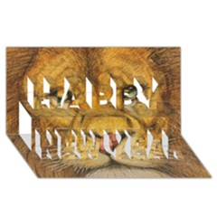 Regal Lion Drawing Happy New Year 3d Greeting Card (8x4)  by KentChua