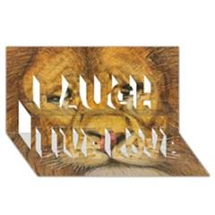 Regal Lion Drawing Laugh Live Love 3d Greeting Card (8x4)  by KentChua