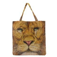 Regal Lion Drawing Grocery Tote Bags by KentChua
