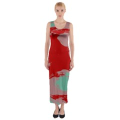Red Pink Green Texture Fitted Maxi Dress