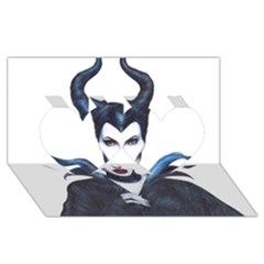 Maleficent Drawing Twin Hearts 3d Greeting Card (8x4)  by KentChua