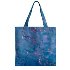 Abstract Waters With Hints Of Pink Zipper Grocery Tote Bags by timelessartoncanvas