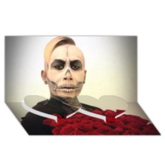 Halloween Skull Tux And Roses  Twin Heart Bottom 3d Greeting Card (8x4)  by KentChua