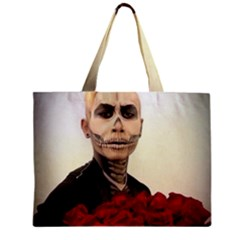 Halloween Skull Tux And Roses  Zipper Tiny Tote Bags by KentChua