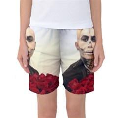 Halloween Skull Tux And Roses  Women s Basketball Shorts by KentChua