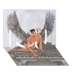 Angel And The Piano Drawing I Love You 3d Greeting Card (7x5)  by KentChua