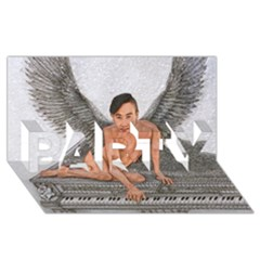 Angel And The Piano Drawing Party 3d Greeting Card (8x4)  by KentChua