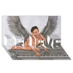 Angel And The Piano Drawing Believe 3d Greeting Card (8x4)  by KentChua