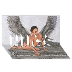 Angel And The Piano Drawing Hugs 3d Greeting Card (8x4)  by KentChua