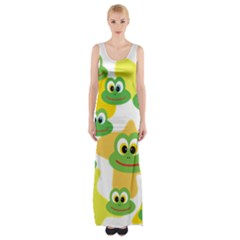 Cute Frog Family Whimsical Maxi Thigh Split Dress