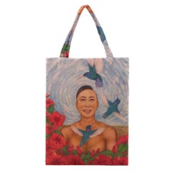Spring Amazed By The Hummingbirds Drawing Classic Tote Bags by KentChua