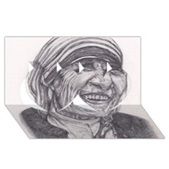 Mother Theresa  Pencil Drawing Twin Hearts 3d Greeting Card (8x4)  by KentChua