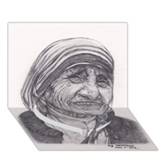 Mother Theresa  Pencil Drawing Heart Bottom 3d Greeting Card (7x5)  by KentChua
