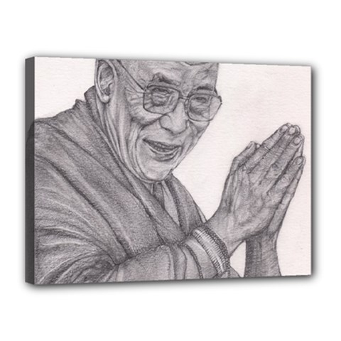 Dalai Lama Tenzin Gaytso Pencil Drawing Canvas 16  X 12  by KentChua