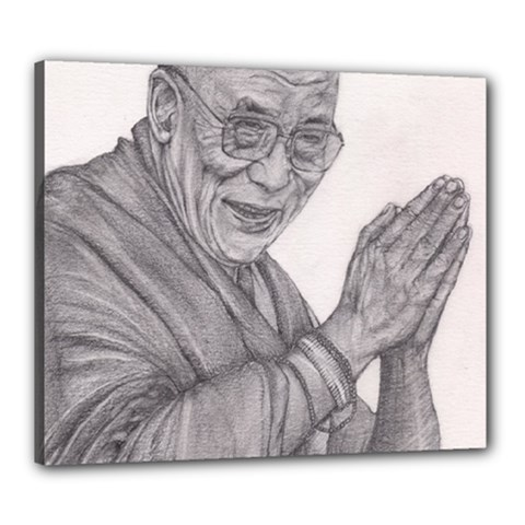 Dalai Lama Tenzin Gaytso Pencil Drawing Canvas 24  X 20  by KentChua