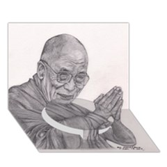Dalai Lama Tenzin Gaytso Pencil Drawing Circle Bottom 3d Greeting Card (7x5)  by KentChua