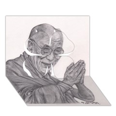 Dalai Lama Tenzin Gaytso Pencil Drawing Clover 3d Greeting Card (7x5)  by KentChua
