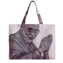 Dalai Lama Tenzin Gaytso Pencil Drawing Zipper Tiny Tote Bags by KentChua