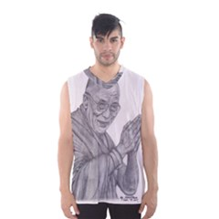 Dalai Lama Tenzin Gaytso Pencil Drawing Men s Basketball Tank Top by KentChua