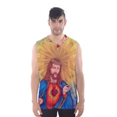 Scared Heart Of Jesus Christ Drawing Men s Basketball Tank Top by KentChua