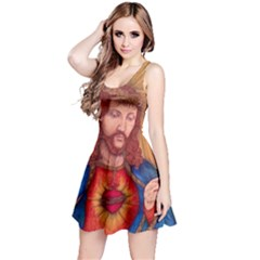 Sacred Heart Of Jesus Christ Drawing Reversible Sleeveless Dress by KentChua