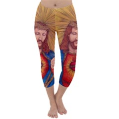 Sacred Heart Of Jesus Christ Drawing Capri Winter Leggings