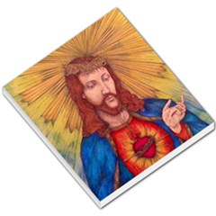 Sacred Heart Of Jesus Christ Drawing Small Memo Pads by KentChua