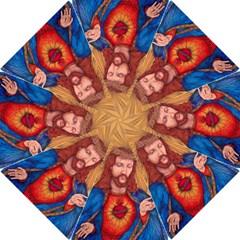 Sacred Heart Of Jesus Christ Drawing Hook Handle Umbrellas (medium) by KentChua