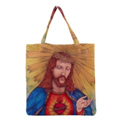 Sacred Heart Of Jesus Christ Drawing Grocery Tote Bags by KentChua