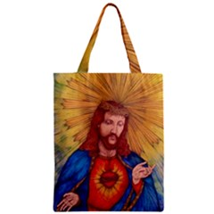 Sacred Heart Of Jesus Christ Drawing Zipper Classic Tote Bags by KentChua