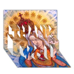 Immaculate Heart Of Virgin Mary Drawing Thank You 3d Greeting Card (7x5)  by KentChua