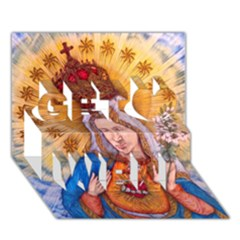 Immaculate Heart Of Virgin Mary Drawing Get Well 3d Greeting Card (7x5)  by KentChua