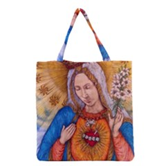 Immaculate Heart Of Virgin Mary Drawing Grocery Tote Bags by KentChua