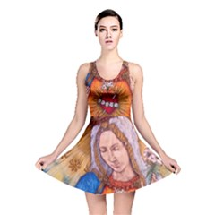Immaculate Heart Of Virgin Mary Drawing Reversible Skater Dress by KentChua