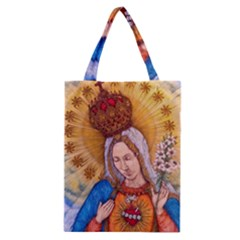 Immaculate Heart Of Virgin Mary Drawing Classic Tote Bags by KentChua